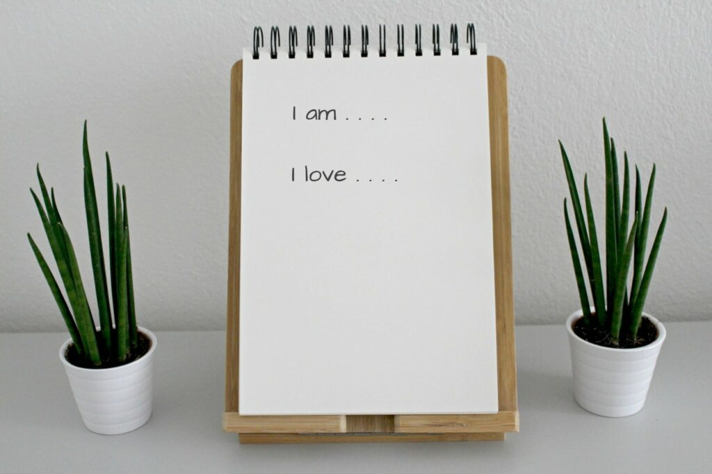 note pad with self-discovery notes